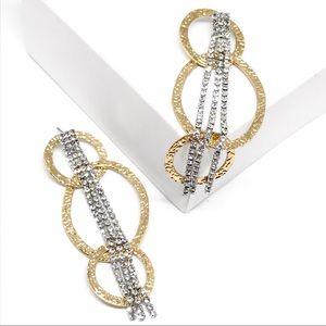 ANTHRO Rhinestone Waterfall Hoop Gold Earrings